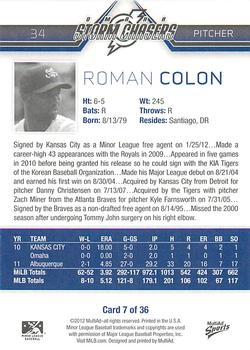 2012 MultiAd Omaha Storm Chasers #7 Roman Colon Back