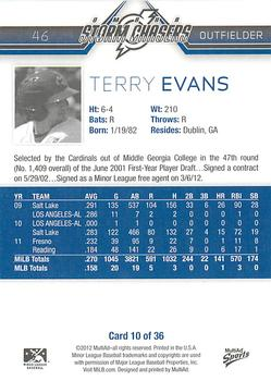 2012 MultiAd Omaha Storm Chasers #10 Terry Evans Back