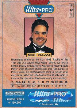 1994 Rembrandt Ultra Pro Mike Piazza Baseball Gallery The