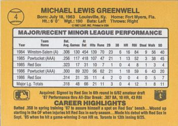 1987 Donruss Rookies #4 Mike Greenwell Back