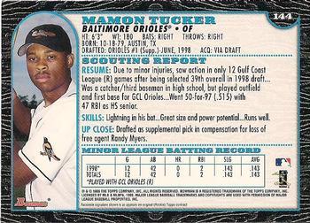 1999 Bowman Baseball Rookie Card #144 Mamon Tucker
