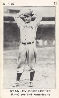 1922 W501 #21 Stan Coveleski Front