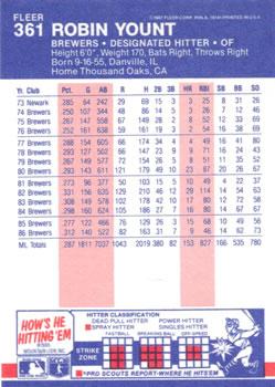 1987 Fleer #361 Robin Yount Back