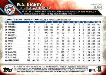 2016 Topps #493 R.A. Dickey Back