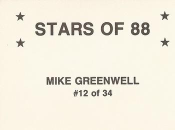 1988 Broder Stars of 88 #12 Mike Greenwell Back
