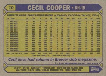 1987 Topps #10 Cecil Cooper Back