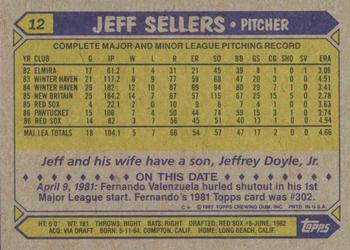 1987 Topps #12 Jeff Sellers Back