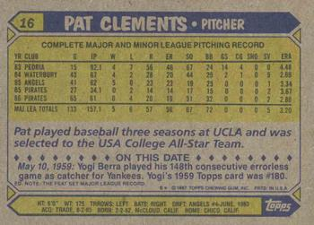 1987 Topps #16 Pat Clements Back