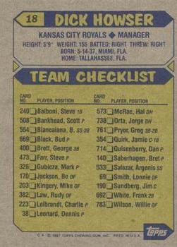 1987 Topps #18 Dick Howser Back