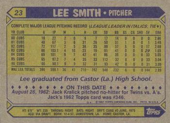 1987 Topps #23 Lee Smith Back