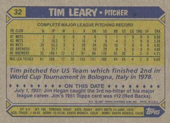 1987 Topps #32 Tim Leary Back