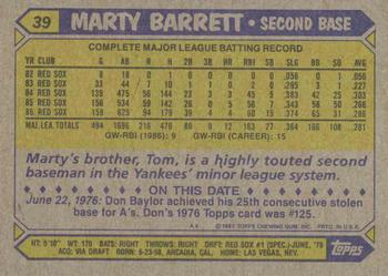1987 Topps #39 Marty Barrett Back