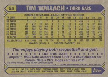 1987 Topps #55 Tim Wallach Back