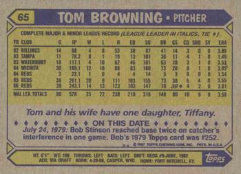 1987 Topps #65 Tom Browning Back