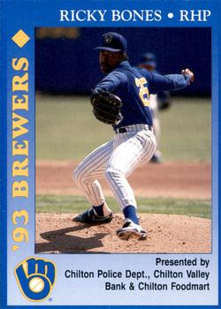 1993 Milwaukee Brewers Police - Chilton PD, Chilton Valley Bank, Chilton Foodmart and Cher-Make #2 Ricky Bones Front