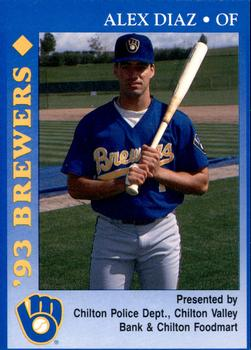 1993 Milwaukee Brewers Police - Chilton PD, Chilton Valley Bank, Chilton Foodmart and Cher-Make #4 Alex Diaz Front