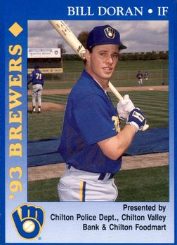 1993 Milwaukee Brewers Police - Chilton PD, Chilton Valley Bank, Chilton Foodmart and Cher-Make #5 Bill Doran Front