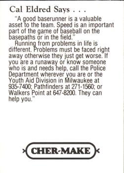 1993 Milwaukee Brewers Police - Chilton PD, Chilton Valley Bank, Chilton Foodmart and Cher-Make #6 Cal Eldred Back