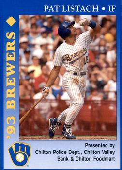 1993 Milwaukee Brewers Police - Chilton PD, Chilton Valley Bank, Chilton Foodmart and Cher-Make #15 Pat Listach Front