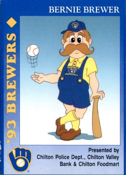 1993 Milwaukee Brewers Police - Chilton PD, Chilton Valley Bank, Chilton Foodmart and Cher-Make #NNO Bernie Brewer Front