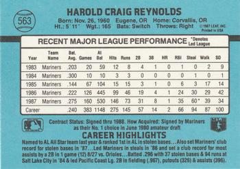 1988 Donruss #563 Harold Reynolds Back