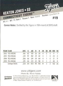 2015 Choice Connecticut Tigers #19 Keaton Jones Back