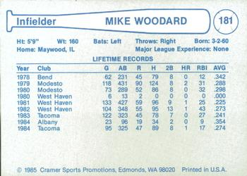 1985 Cramer Phoenix Giants #181 Mike Woodard Back