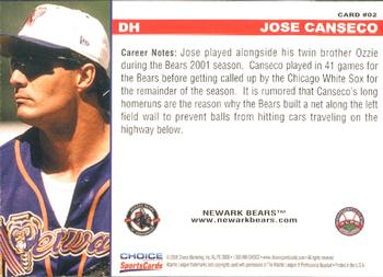 2008 Choice Newark Bears 10th Anniversary #2 Jose Canseco Back