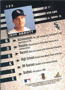 1998 Pinnacle Inside #123 Jeff Abbott Back