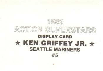 1989 Action Superstars Display Cards #5 Ken Griffey Jr. Back