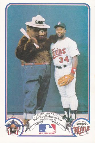 1987 Smokey Bear's Fire Prevention Team American League #8 Kirby Puckett Front