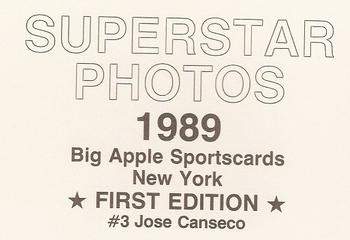 1989 Big Apple Sportscards Superstar Photos (unlicensed) #3 Jose Canseco Back