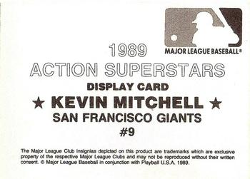1989 Action Superstars MLB Logo Test #9 Kevin Mitchell Back
