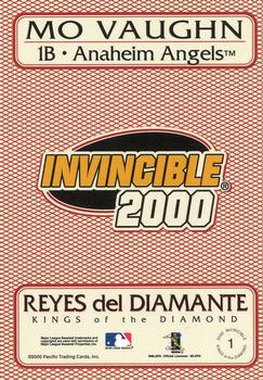 2000 Pacific Invincible - Kings of the Diamond #1 Mo Vaughn  Back