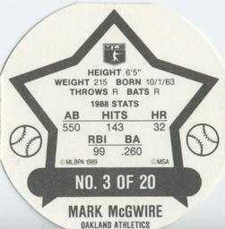 1989 MSA Super Stars #3 Mark McGwire Back