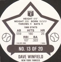 1989 Super Stars Discs #13 Dave Winfield Back