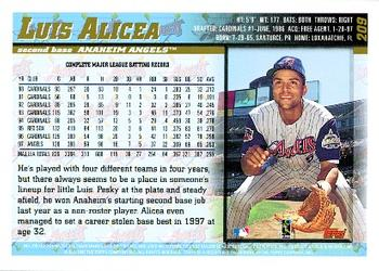 1998 Topps #209 Luis Alicea Back