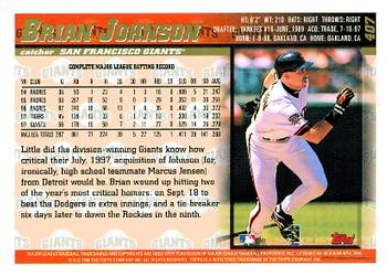 1998 Topps #407 Brian Johnson Back