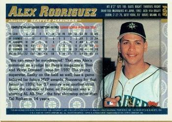 1998 Topps #504 Alex Rodriguez Back