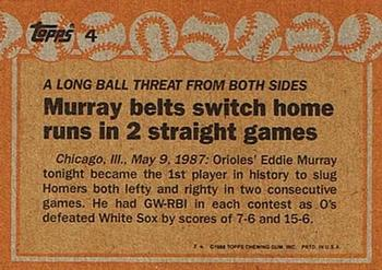 1988 Topps #4 Eddie Murray Back