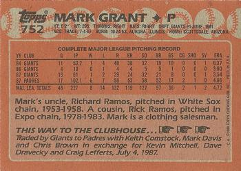 1988 Topps #752 Mark Grant Back