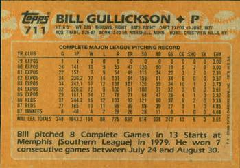 1988 Topps #711 Bill Gullickson Back