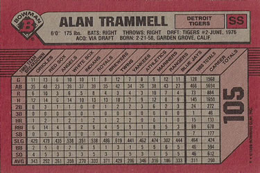 1989 Bowman #105 Alan Trammell Back