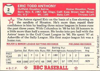 1990 Baseball Cards Presents Beginners Guide to Baseball Cards Repli-cards #2 Eric Anthony Back