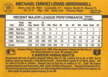 1989 Donruss #186 Mike Greenwell Back