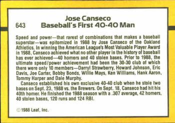 1989 Donruss #643 Jose Canseco Back