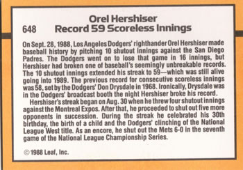1989 Donruss #648 Orel Hershiser Back