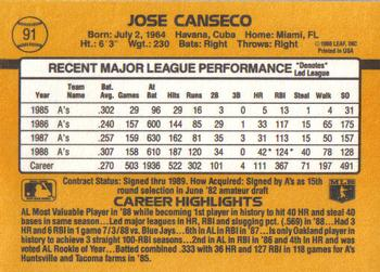 1989 Donruss #91 Jose Canseco Back