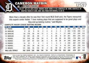 2016 Topps Update #US97 Cameron Maybin Back