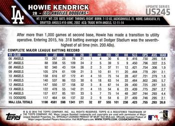 2016 Topps Update #US245 Howie Kendrick Back